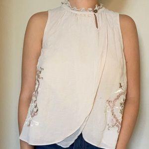 Anthropologie victorian high collar blouse